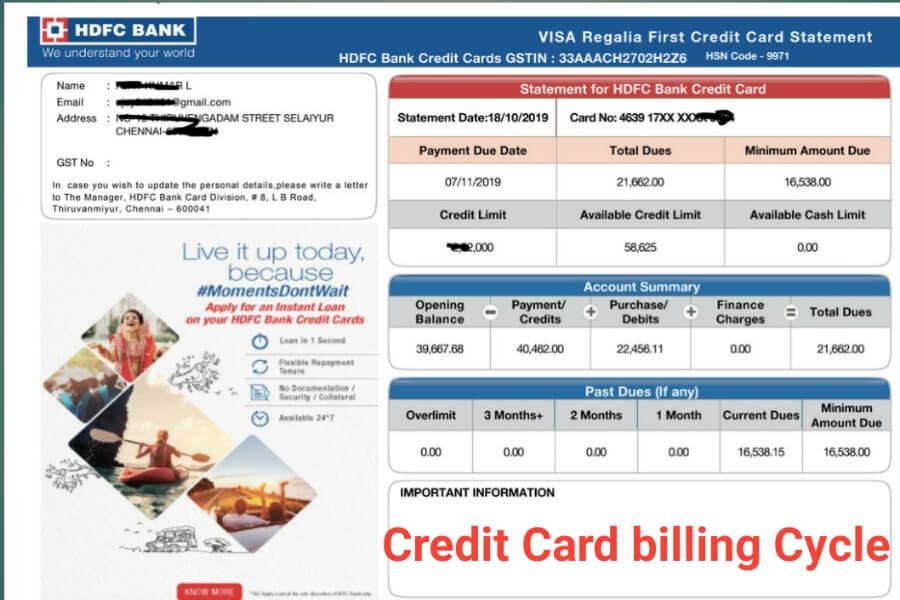 credit card statement hdfc bank