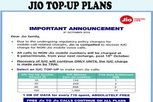 jio top up plans for calls to other network